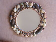 "Authentic VINTAGE ANTIQUE sea shell MIRROR folk art 9-1/2"" CHIC maritime beach"