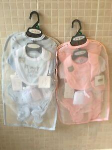 Baby Girl boy 7 piece Layette set Pink Blue Prince Princess cotton 0-3 m 3-6 m