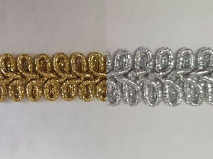Gold or Silver Military Style Lurex Braid Trimming 10mm Wide
