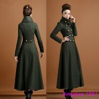 HOT Womens Wool Blend Double Breasted Slim Fit Long Trench Coat Jacket Overcoats