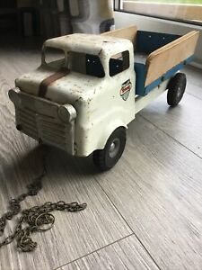 Vintage Triang Truck Transport Blue White Milk Lorry Wagon