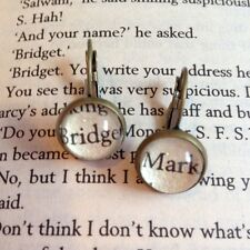 KITSCH UNIQUE BRIDGET MARK DARCY BOOK QUOTE EARRINGS