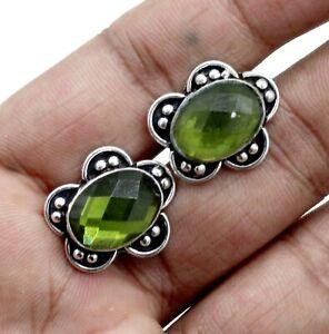 "Handmade 925 Sterling Silver Green Peridot Gemstone Jewelry Cuff Links Size-1"""