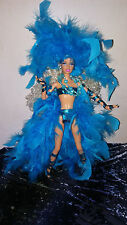 Ooak Turquoise Feathers Mardi Gras Las Vegas Showgirl Barbie Custom Artist Doll