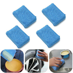 4x Blue Microfiber Applicator Sponge Pad Car Wash Wax Polish Detailing Clean