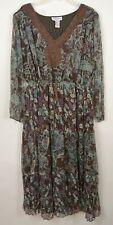 Silhouettes NWOT 24 3/4 Sleeve Dress v-neck Brown Paisley Sheer Lined Career