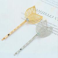 2x Women Gold Silver Crystal Leaf Hairpin Hairband Barrette Hair Clip Accessory