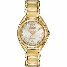 Citizen Eco-Drive Women's FE2072-89A Gold Tone Floral Motif Dial Bracelet Watch