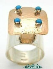 Stunning 9k Rose Gold & Sterling Silver Turquoise Ring