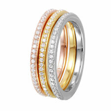 925 Sterling Silver tri-color eternity ring w/ DIAMONDS SZ 5-9 /NEW DESIGN!