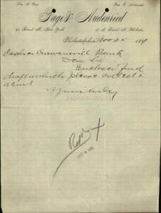 1891 Philadelphia Pennsylvania (PA) Letter Page & Audenried