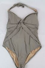 J.Crew $110 Twist-Front Halter One-Piece Swimsuit 14 L Large Earth Brown E8059