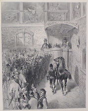 """Doré-Londres; """"una venta en Tattersall"""", antiguo grabado en madera, C.1870"""