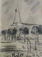 E. E. Deutsch Krone (1910-c.2000) Zeichnung 1957:KLEINE EPPENDORFER KIRCHE in HH