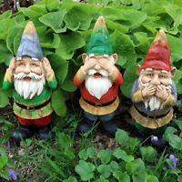 Sunnydaze Three Wise Gnomes - Hear No Evil Speak No Evil See No Evil - Set of 3