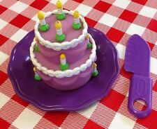 VTG  Pretend Play Food Party WEDDING CAKE 🎂 Candles Knife Plate