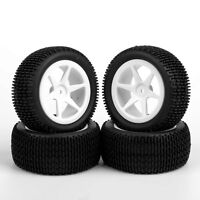 4PCS Rubber Front&Rear Tires 6 Spoke White Wheel For RC 1:10 Off-Road Buggy Car