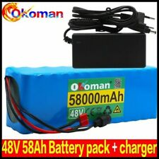 Lithium 48V 58Ah Ebike Battery 1000W Pack High Power + Charger Ebike Ion Battery