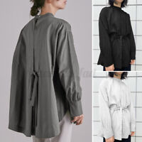2021 UK Womens Mock Neck Solid Top Belted Shirt Basic Casual Loose Ladies Blouse