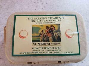 The Golfers Breakfast - 6 X Fresh Range Golf Balls In An Egg Box St. Andrews