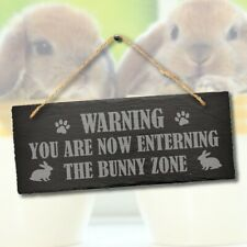 More details for warning bunny zone rabbit area enclosure engraved hanging slate hutch sign