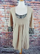 "TOPSHOP jumper dress 14 UK bust 38"" length 30"" short beige green floral inserts"