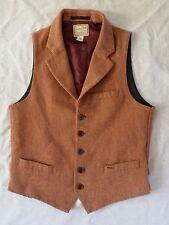 SCOTCH SODA rust tan wool herringbone steampunk waistcoat vest 46 SMALL