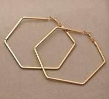 """18K Gold Filled 3.1"""" Earring Delicacy Trapezoid Hollow Dangle Fashion Lady DS"""