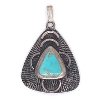 VTG Estate Navajo Sterling Silver & Turquoise Triangle Pendant! 50