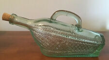 Collectible Spanish Novelty Glass Wine Bottle In A Basket