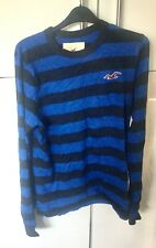 MENS HOLLISTER LONG SLEEVE COTTON  TOP  IN BLUE & NAVY STRIPE   SIZE MEDIUM