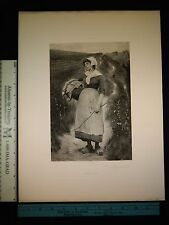 Rare Antique Orig VTG Disappointment Girl In Clogs Goupil Photogravure Art Print