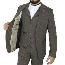 Mens Cavani Vintage Brown Tweed Herringbone Peaky Blinders Formal Jacket Blazer