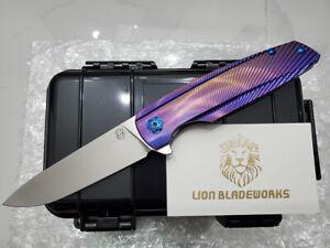 specter m390blade purple anodized titanium flipper tactical camping pocket knife