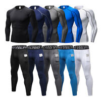 Compression Baselayer Tights for Men Pants Shirts Fitness Running Cool dry Tops