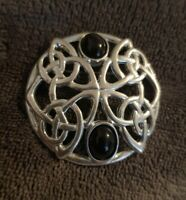 Silver Tone Celtic Knot Brooch With black Coloured stones