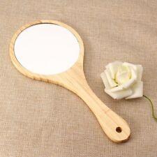 Makeup Mirror Cosmetic Hand Held Mirror With Wooden Handle For Ladies Dresser