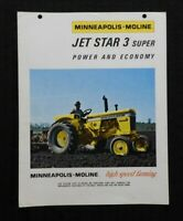 "GENUINE MINNEAPOLIS MOLINE ""JET STAR 3 SUPER"" TRACTOR CATALOG FOLD-OUT BROCHURE"