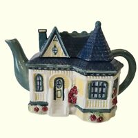 Vintage 1998 Cracker Barrel Ceramic Tea Pot Victorian House Cottage Collector