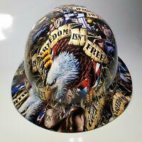 NEW FULL BRIM Hard Hat custom hydro dipped FREEDOM ISN'T FREE USA AMERICA sick