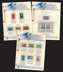 1956 Complete 13 US Commemorative Stamp Set. Clear mounts on White Ace Pages MNH