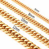 6/8/10/12/14/17mm New Stainless Steel Gold Curb Cuban Women Mens Chain Necklace