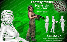 WOO Free shipping ARM 1/35 resin Fantasy model Merry girl soldier 35907