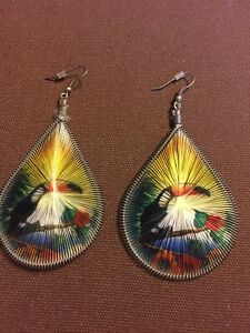 Vintage Beautiful Tucan Colorful Dangle Earrings