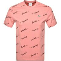 Lacoste Live Signature Print Cotton Tee Pink