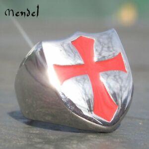 MENDEL Knights Templar Ring Stainless Steel Masonic Crusader Shield Cross Silver
