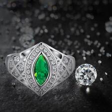 Marquise Emerald & White Topaz Gemstone 14K White Gold Plated Ring Sz 8 Fashion