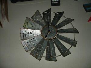 "Rustic Metal Windmill Wall Clock, 14 1/2"", Good Condition"