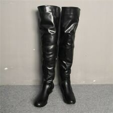 Womens Black Leather Thigh High Riding Boots Low Heels Round Toe Zip Side Shoes