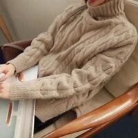 Neu Damen Sweatshirt Warm Kaschmir Rollkragen Gestrickt pullover Verdicken Tops